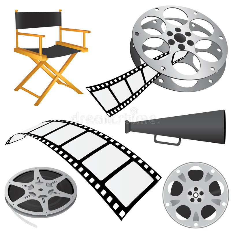 Film objects vector. Film objects and roll vector royalty free illustration
