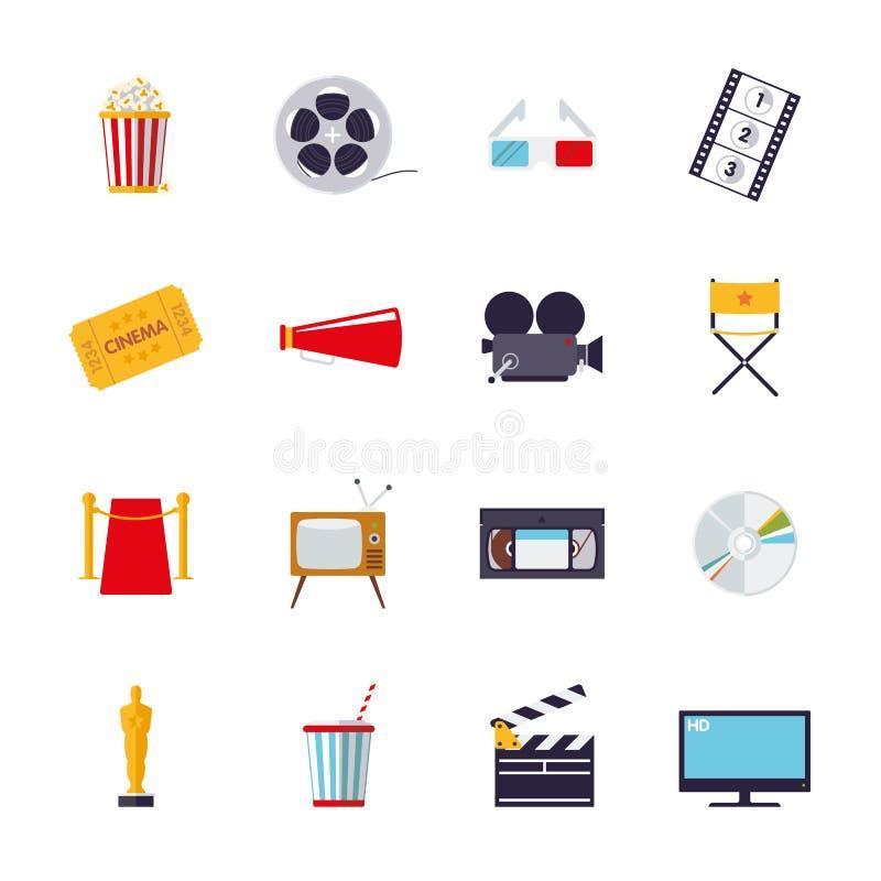 Film och bio isolerad symbolsvektoruppsättning royaltyfri illustrationer