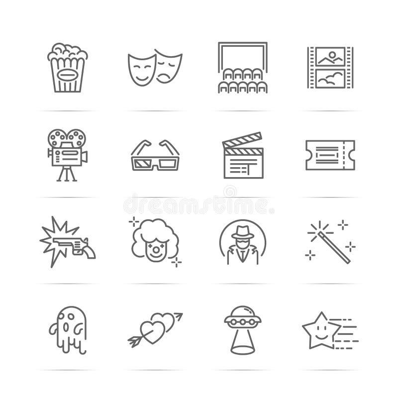Film och biolinje symboler stock illustrationer