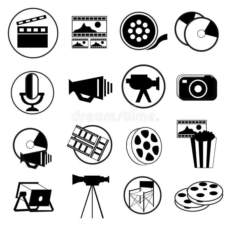 Film- och massmediasymbolsuppsättning stock illustrationer