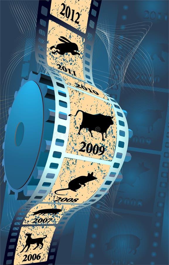 Film op een blauwe achtergrond royalty-vrije illustratie