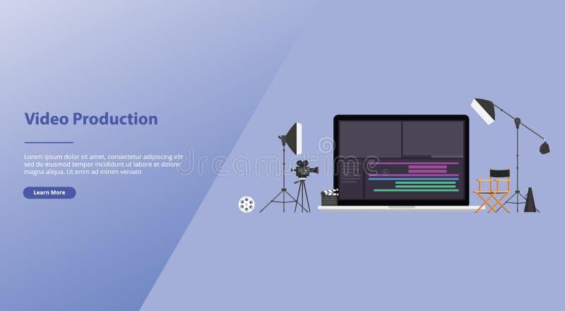 Film ou concept visuel de production avec la table de montage d'équipe avec quelques outils pour éditer des vidéos avec le style  images stock