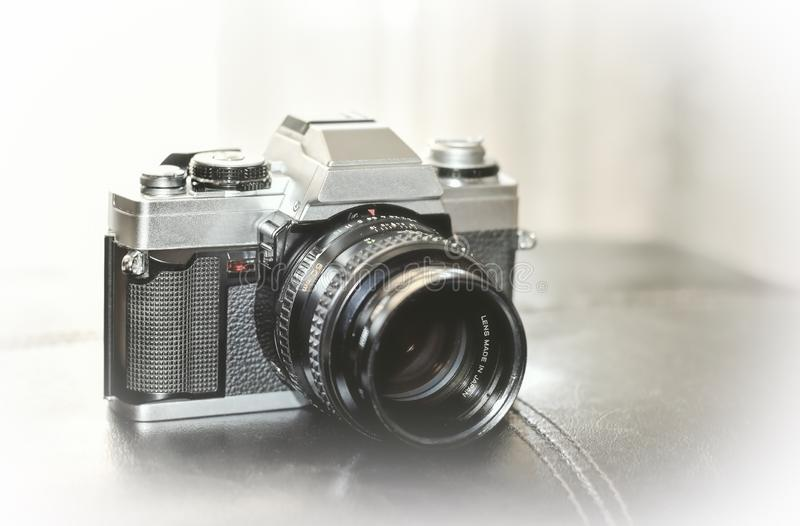 Film photo Camera from 80`s. Film photo Camera from 80`s royalty free stock photography