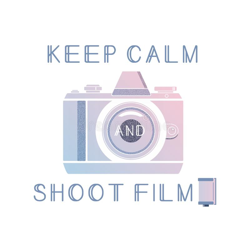 Film photography vector logo with quote. Keep calm and shoot film.Trendy gradient colors. royalty free illustration
