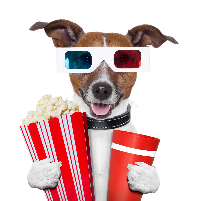 Film-Popcornhund der Gläser 3d lizenzfreies stockfoto