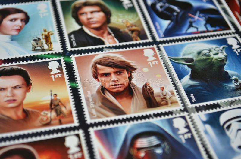Film postal de Star Wars de timbres de collection photographie stock libre de droits