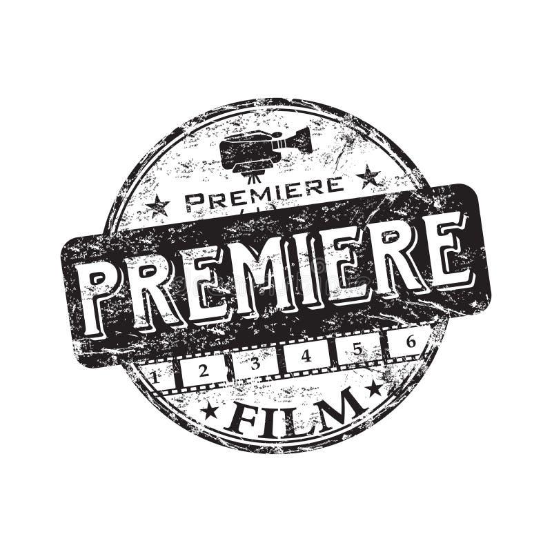 Film premiere rubber stamp vector illustration