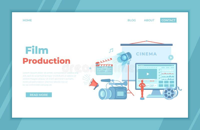 Film Production, Film making concept. Movie camera, loud speaker, clapper board, cine-film, video editor on screen, award statue. Cinema screen. landing page royalty free illustration