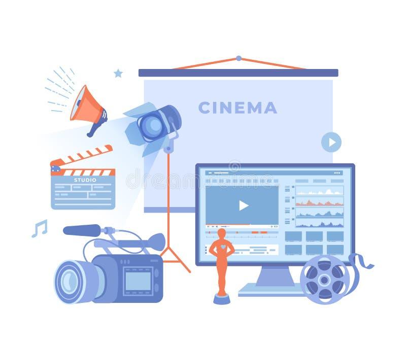 Film Production, Film making concept. Movie camera, loud speaker, clapper board, cine-film, video editor on screen, award statue,. Cinema screen. Vector stock illustration