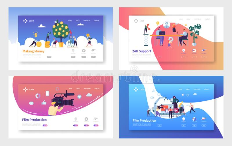 Film Production Making Money Landing Page Set. Technical Client Support Whole Day, Character Increase of Capital, Operator Video. Film Production Making Money vector illustration