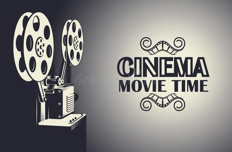 Film projector poster. Cinema poster with retro film projector background vector illustration