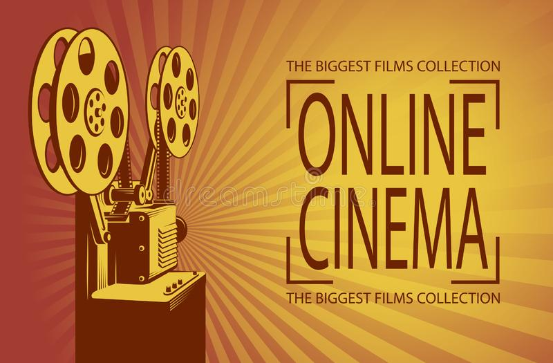 Film projector poster. Online cinema poster with retro film projector background royalty free illustration