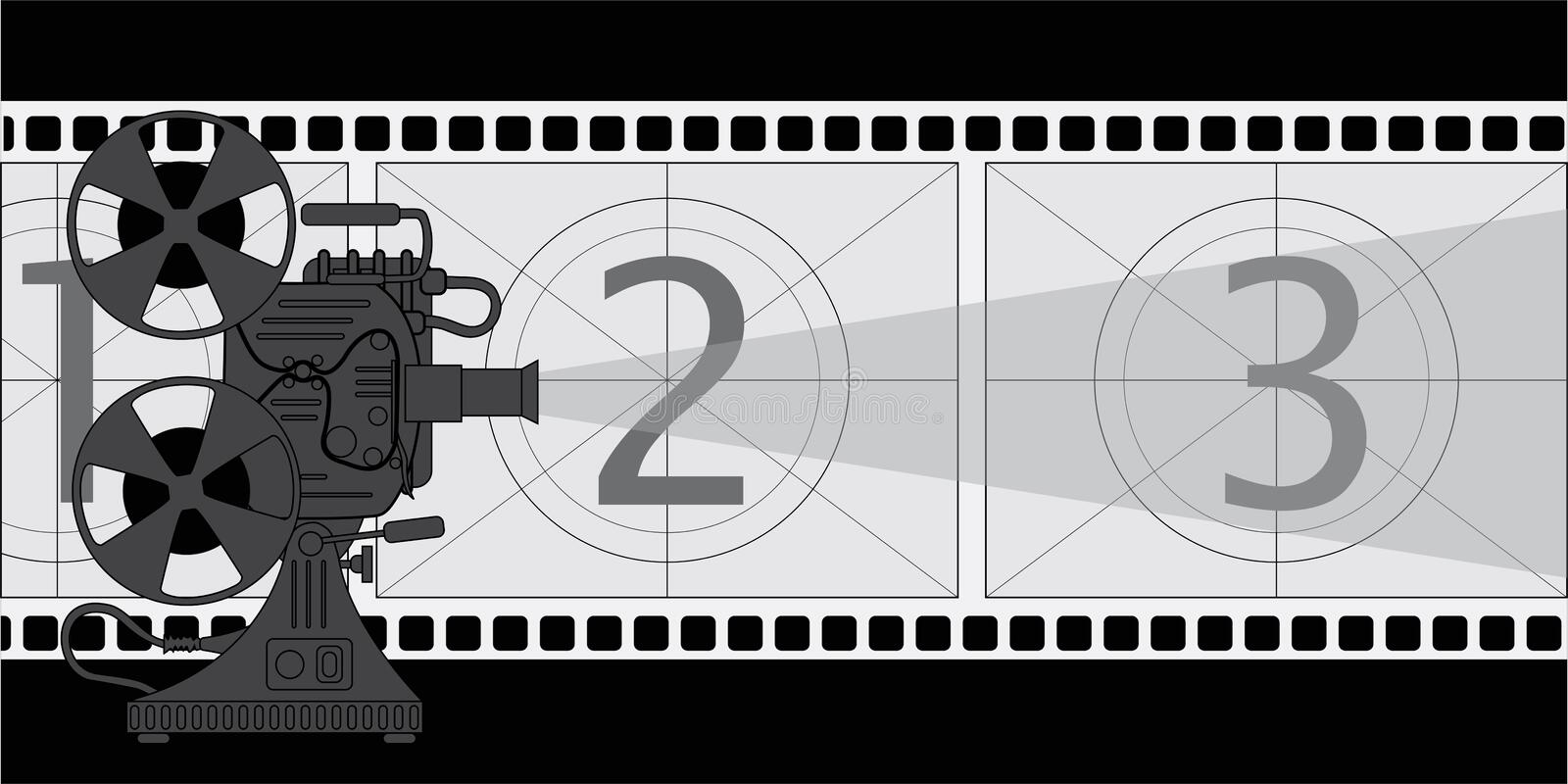 Film projector, a poster on the theme of the film. Film projector and screen stylized film royalty free illustration