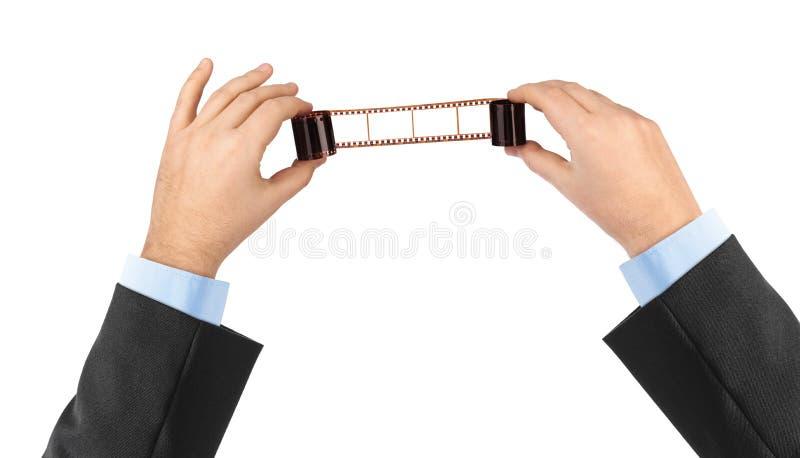 film ręce odizolowane white fotograficznego obraz stock