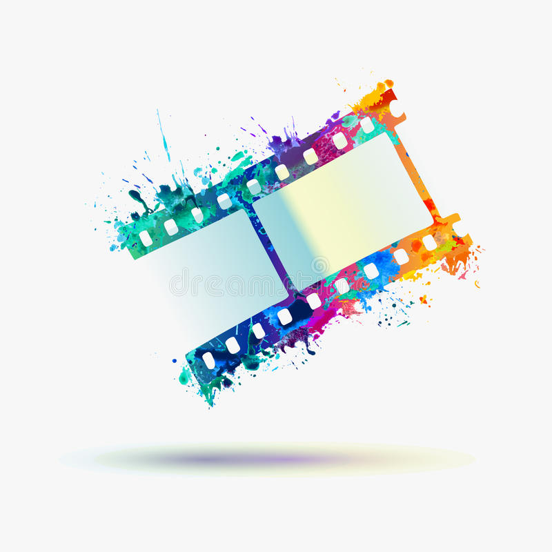 Film rainbow sign. Vector watercolor. Splash stock illustration
