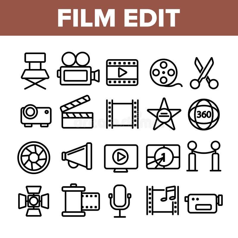 Film Redaguje, filmowanie Liniowe Wektorowe ikony Ustawiać royalty ilustracja
