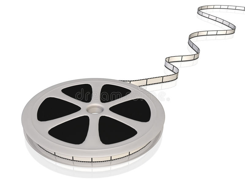 Film Reel. Image of a 3D film reel isolated on a white background vector illustration