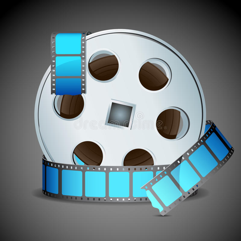 Film Reel. Illustration of film reel on abstract background stock illustration