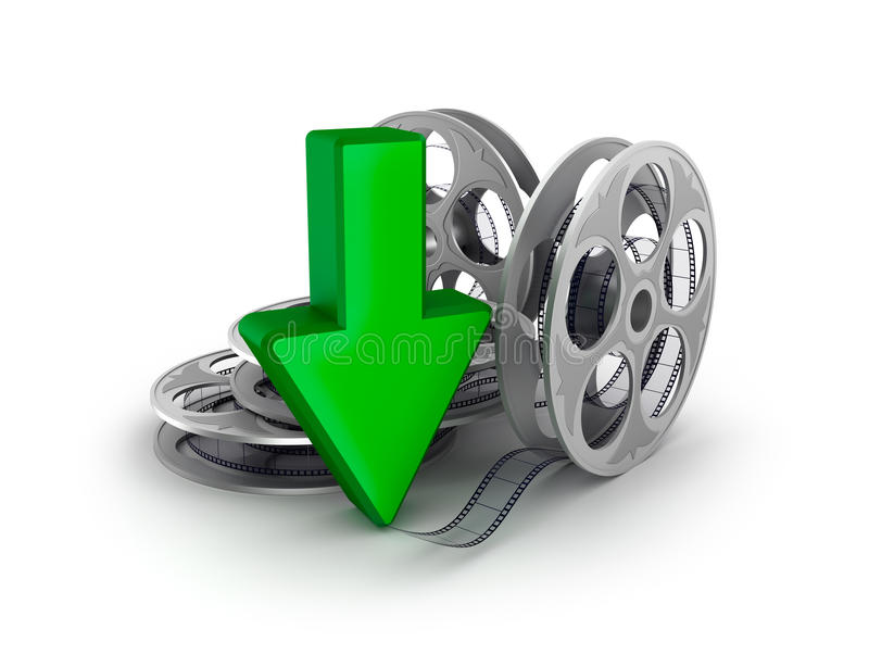 Film reel and arrow. Download icon. stock illustration