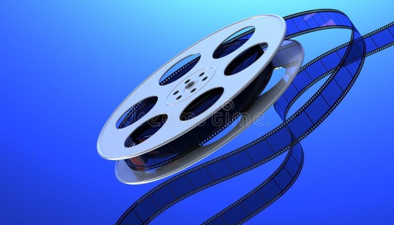 Film reel. Reel of film on a blue background. 3D render vector illustration