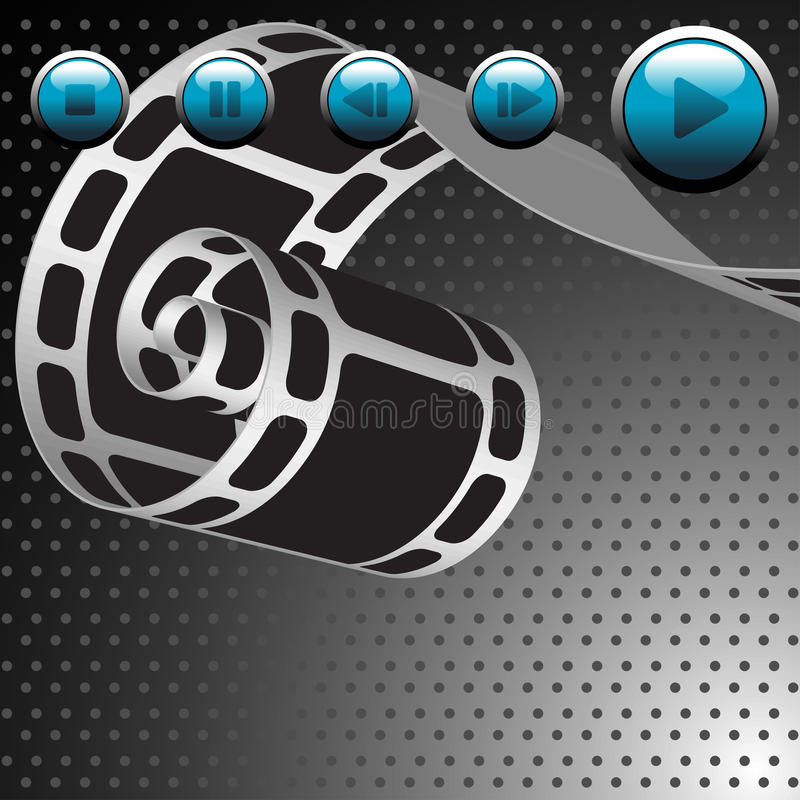 Film reel and blue buttons stock illustration