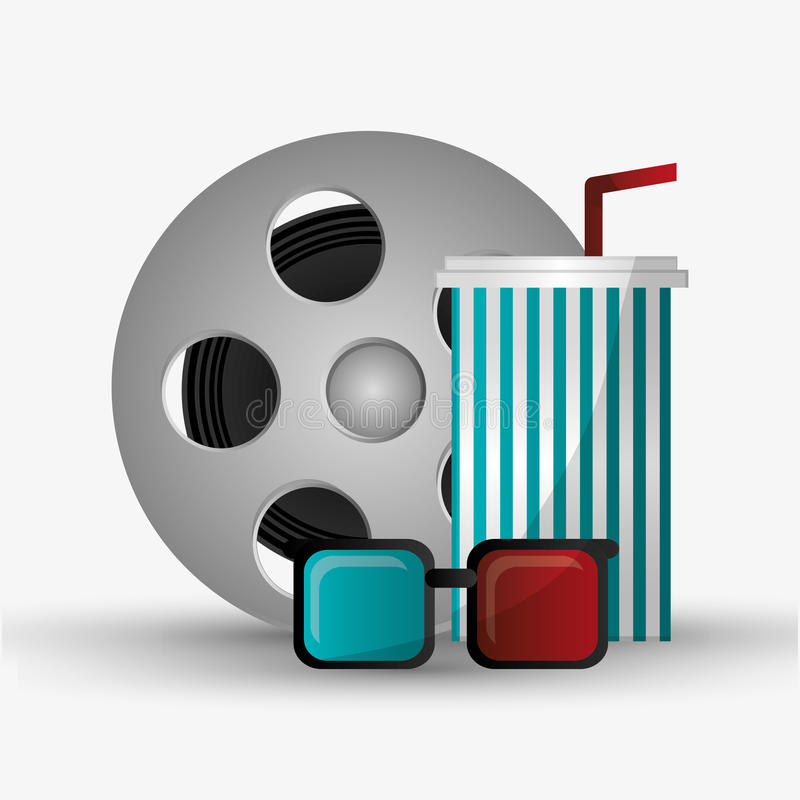 Film reel cinema and movie design. Film reel 3d glasses and soda icon. Cinema movie video film and entertainment theme. Colorful design. Vector illustration royalty free illustration