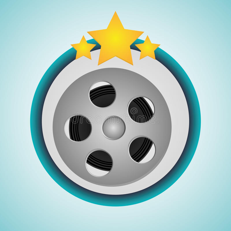 Film reel cinema and movie design. Film reel icon. Cinema movie video film and entertainment theme. Colorful design. Vector illustration royalty free illustration