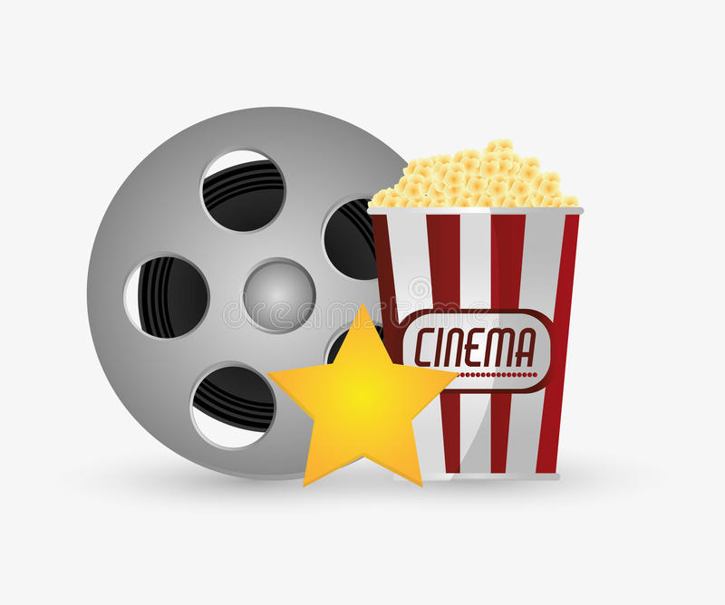 Film reel cinema and movie design. Film reel and pop corn icon. Cinema movie video film and entertainment theme. Colorful design. Vector illustration stock illustration