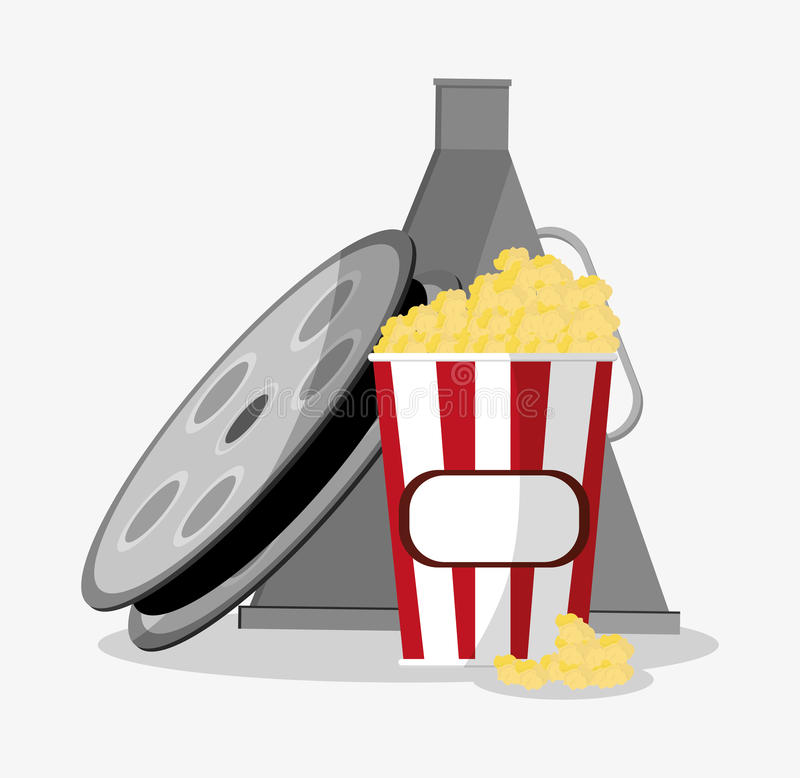 Film reel cinema and movie design. Film reel and pop corn icon. Cinema movie video film and entertainment theme. Colorful design. Vector illustration royalty free illustration