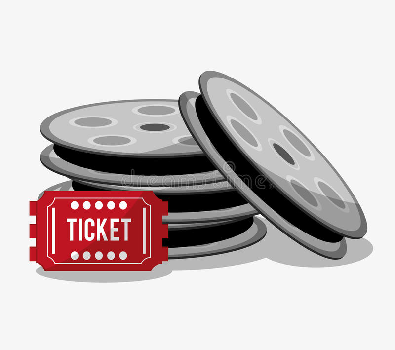 Film reel cinema and movie design. Film reel and ticket icon. Cinema movie video film and entertainment theme. Colorful design. Vector illustration stock illustration