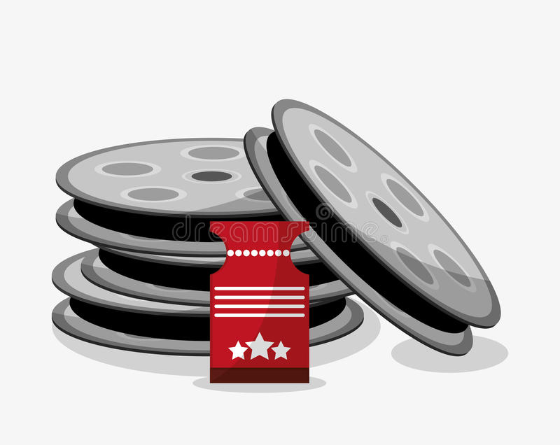 Film reel cinema and movie design. Film reel and ticket icon. Cinema movie video film and entertainment theme. Colorful design. Vector illustration vector illustration