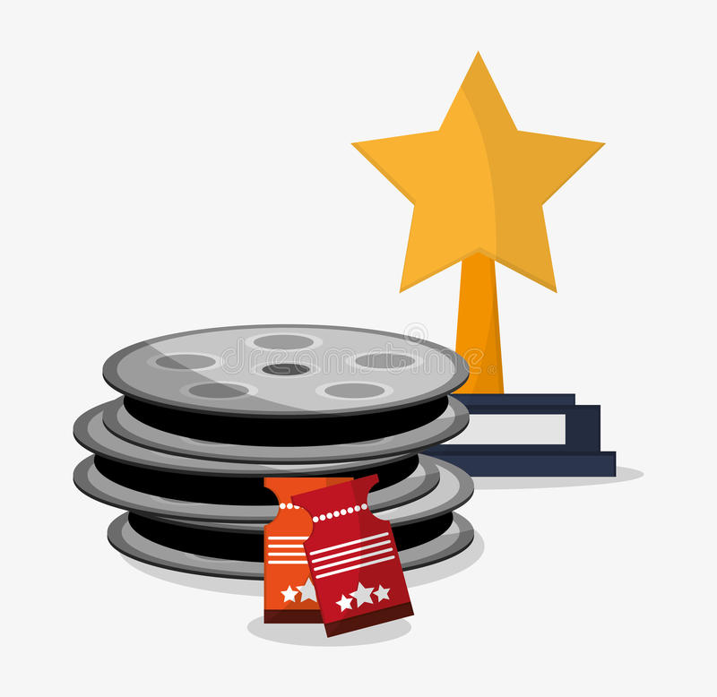 Film reel cinema and movie design. Film reel and ticket icon. Cinema movie video film and entertainment theme. Colorful design. Vector illustration royalty free illustration