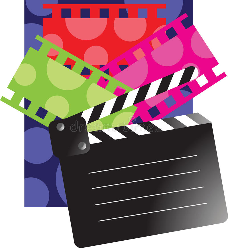Film reel and clap board. Wave film strip isolated on black clap board stock illustration