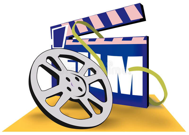 Film reel and clapboard royalty free illustration
