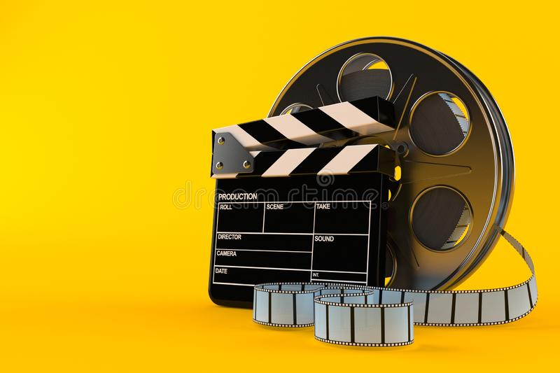 Film reel with clapboard. Isolated on orange background. 3d illustration stock illustration
