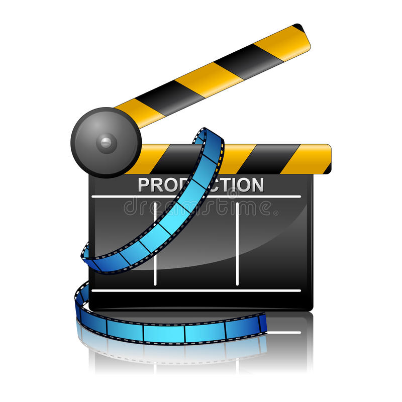 Film Reel with Clapper Board stock illustration