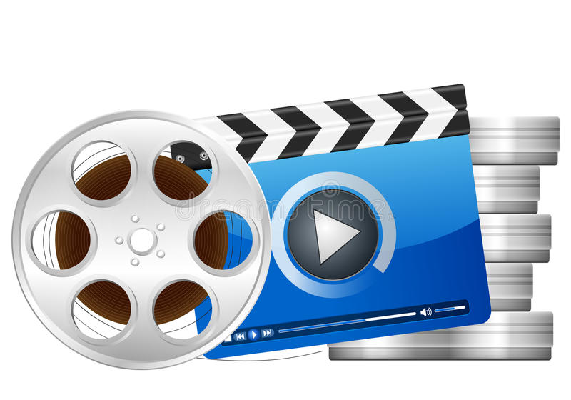 Film reel and clapper board royalty free illustration