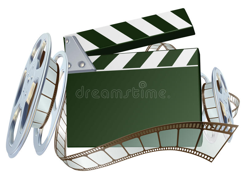Film reel and clapper board background stock illustration