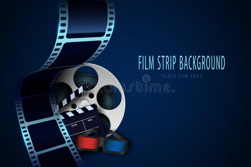 Film reel, clapper board, 3d cinema glasses and twisted cinema tape isolated on blue background. Movie poster template with sample royalty free illustration