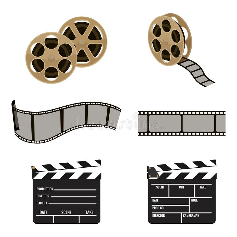Film reel and clapper board symbols of filmmaking footage vector illustration