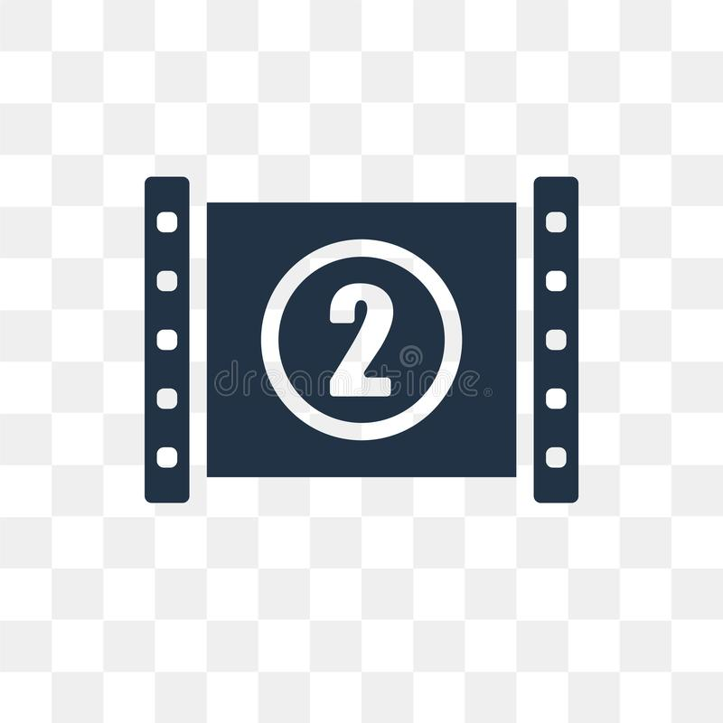 Film Reel Countdown Number 2 vector icon isolated on transparent stock illustration
