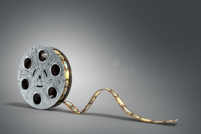 Film reel with a film strip 3d render on the grey background stock illustration