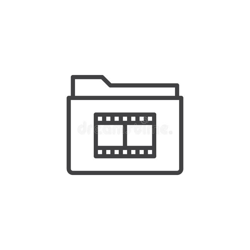 Film reel folder line icon. Outline vector sign, linear style pictogram isolated on white. Symbol, logo illustration. Editable stroke stock illustration