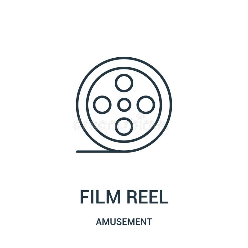 film reel icon vector from amusement collection. Thin line film reel outline icon vector illustration stock illustration
