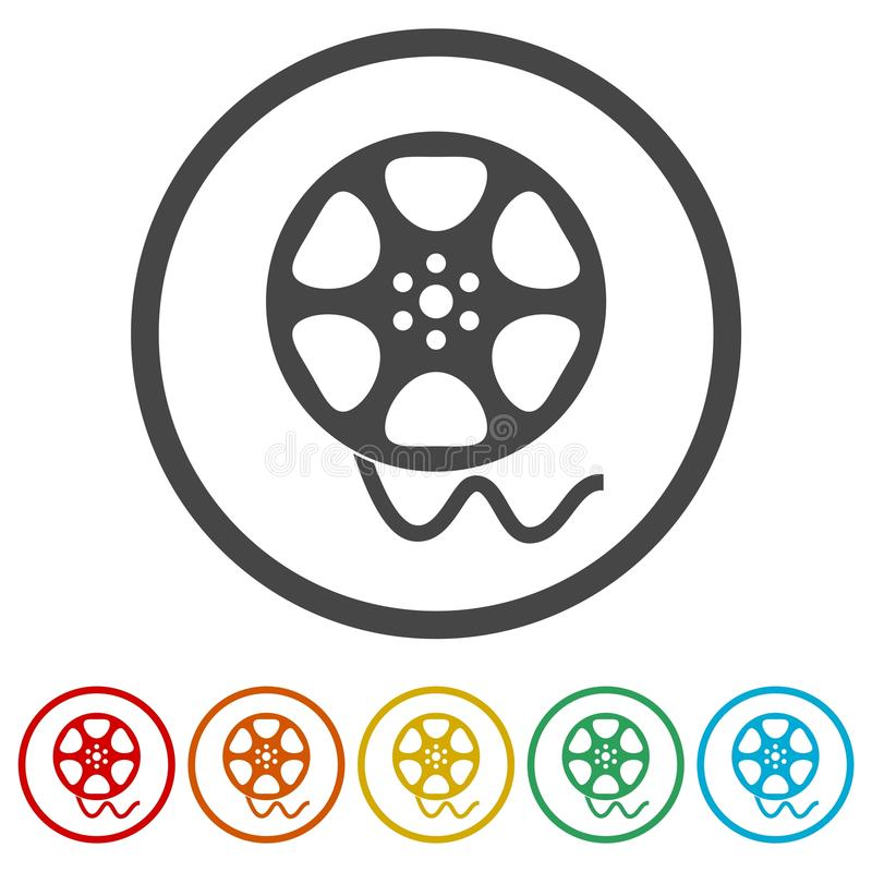 Film reel icon, The video icon, Movie symbol, Flat, 6 Colors Included royalty free illustration