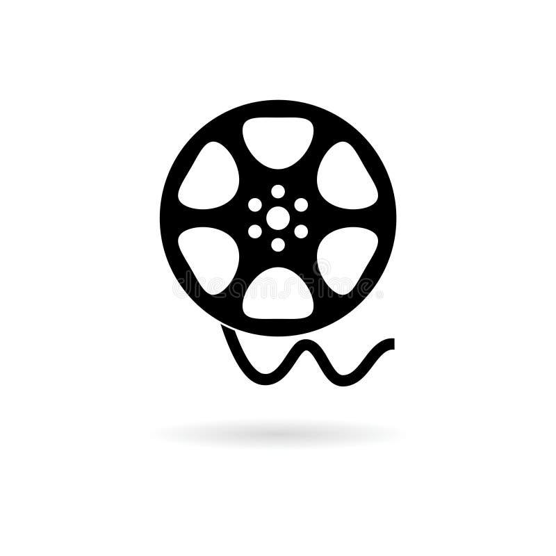 Film reel icon, The video icon, Movie symbol. On white background stock illustration