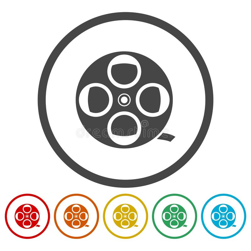 Film reel icons set. Vector icon royalty free illustration