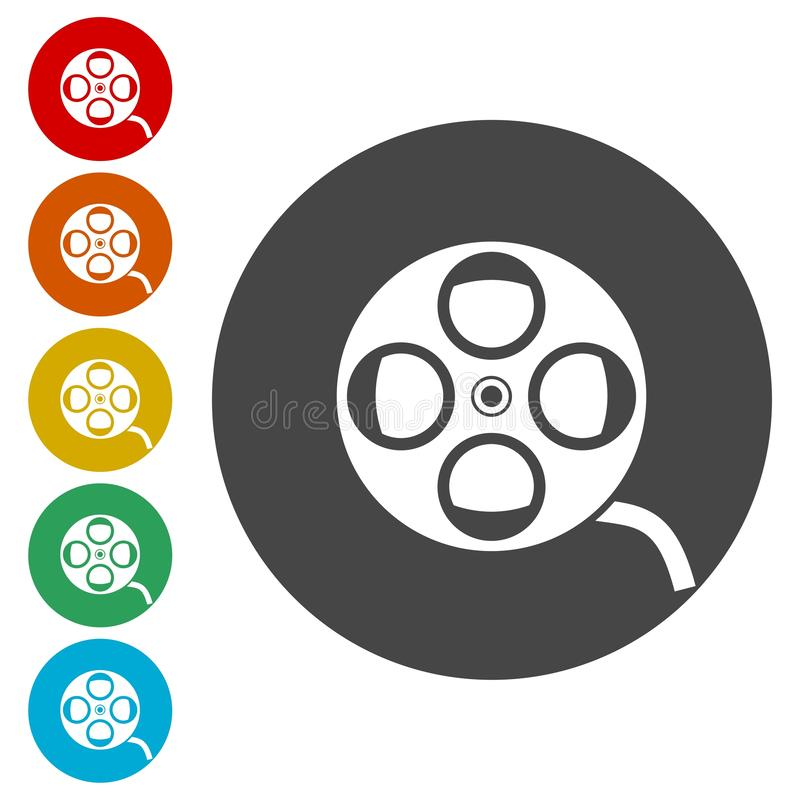 Film reel icons set royalty free illustration