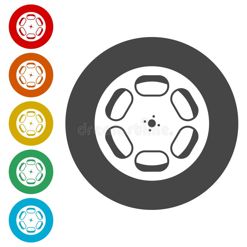 Film reel icons set. Vector icon stock illustration