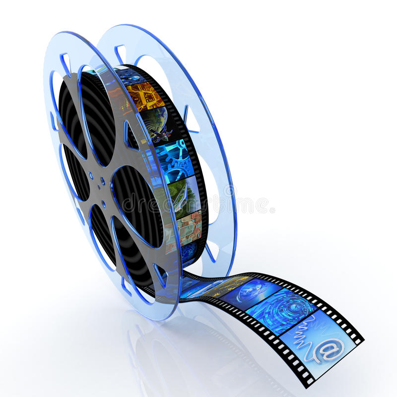 Film reel with images. Multimedia icon. Hi-res digitally generated image stock illustration